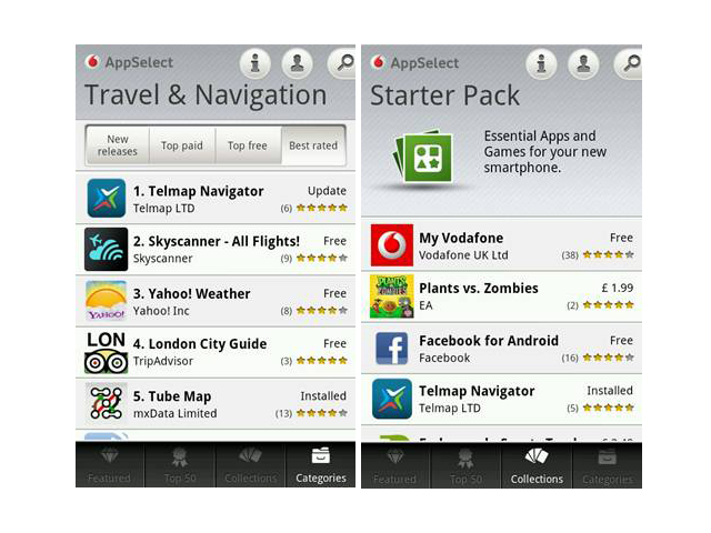 Free navigation app is on Vodafone AppSelect store